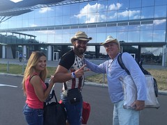 David Moss at KBP Airport with Somotov Family