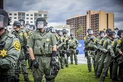 Protestors and police clash at a Trump rally.