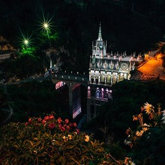 Day 436. Spent my last night in Colombia at Las Lajas Sanctuary. Built between two cliffs and over a river the sanctuary is like something out of a movie. After six it's lit by color-shifting lights to give it an ethereal air. Now, this morning, it's just