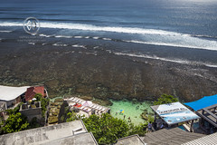 Views overlooking the famous surfing beach, Uluwatu.