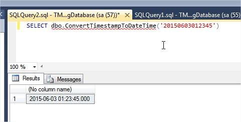 TSQL Convert TimeStamp to DateTime Format function usage