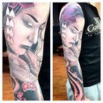 Japanese geisha healed on my cousin jay. Had a blast #japanese #geisha