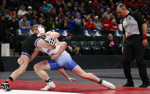 160AAA 1st Place Match - Gabe Nagel (Little Falls) 46-0 won by disqualification over Brock Rinehart (Woodbury) 47-4 (DQ) - 190302bmk0268
