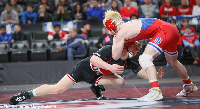 132AA 1st Place Match - Ryan Sokol (Simley) 51-0 won by fall over Charlie Pickell (Mankato West) 47-2 (Fall 5:56) - 190302BMC4376