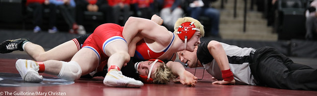 132AA 1st Place Match - Ryan Sokol (Simley) 51-0 won by fall over Charlie Pickell (Mankato West) 47-2 (Fall 5:56) - 190302BMC4486