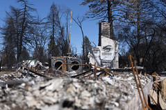 A mural painted by artist Shane Grammer is seen in a destroyed home in Paradise, California, United States on February 18, 2019. Three months after the deadly wildfire, the city of Paradise is in the process of recovery. (Photo by Yichuan Cao/Sipa USA)