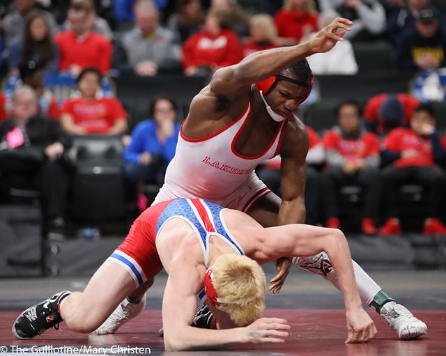 170AA 1st Place Match - Isaiah Thompson (Detroit Lakes) 45-3 won by decision over Nolan Wanzek (Simley) 33-15 (Dec 5-3) - 190302BMC4937