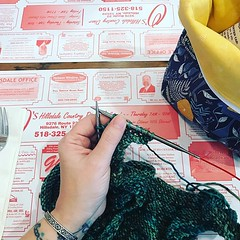 """A little Sunday #dinerknitting - it's been a while! Project is Brass & Steam, yarn is @intothewhirled . . . . #knit #knitting #knittersofinstagram #knitterswithtattoos #knitinpublic #stitchedbyjessalu • <a style=""""font-size:0.8em;"""" href=""""http://www.flickr.com/photos/85938040@N00/40375682073/"""" target=""""_blank"""">View on Flickr</a>"""