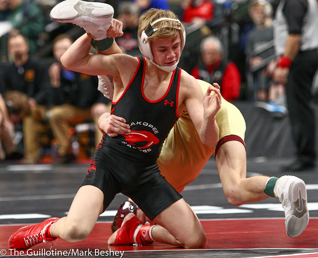 113 - Semifinal - Paxton Creese (Shakopee) 52-1 won by decision over Jake Messner (Northfield) 47-12 (Dec 11-4) - 190302amk0027