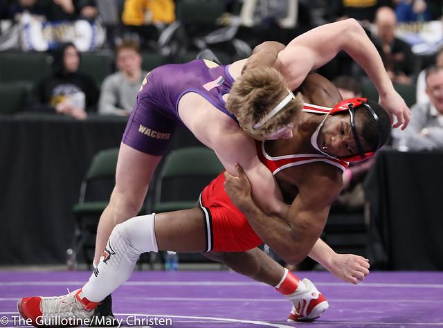 170AA Semifinal - Isaiah Thompson (Detroit Lakes) 45-3 won by decision over Mitch Garnatz (Waconia) 43-13 (Dec 9-4). 190302AMC3334
