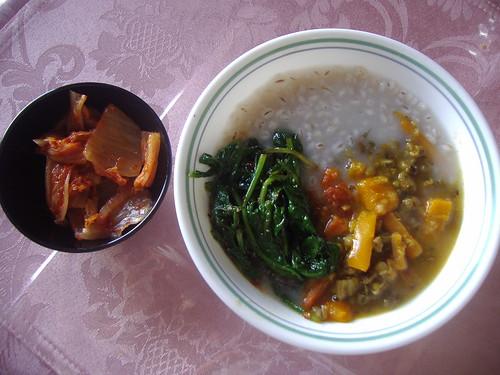 Barley Porridge w/ Moon Dal stew, arugula & kimchi by mscreation101