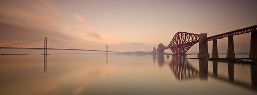 Forth Bridge Winter Sunset Panorama