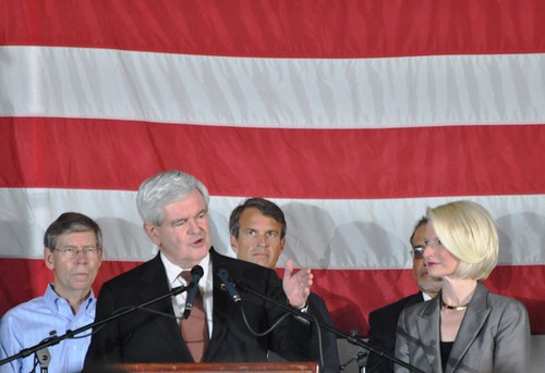 GOP Presidential Candidate Newt Gingrich with Wife Callista, Sarasota, Fla, Jan. 24, 2012