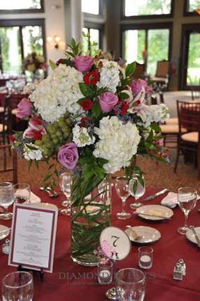 Tall Floral Arrangment with Hydrangeas, Roses & Lilys at Whitehall Manor