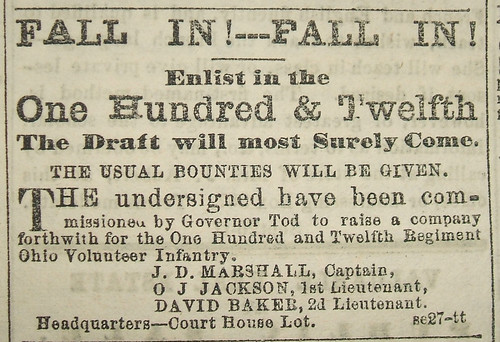 Recruitment Ad for the 112th O.V.I. in the Dayton Daily Journal, 23 Oct. 1862, pg. 1