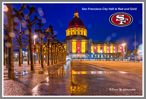City Hall in Red and Gold. GO San Francisco 49ers!!! by davidyuweb