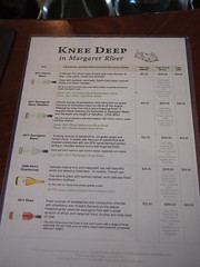 Knee Deep Wines Cellar Door Tasting Wine List and Prices