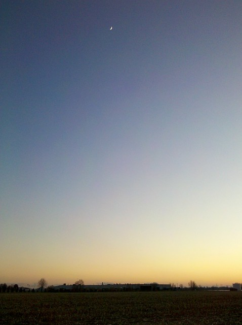 Upper Sandusky sunset and moon