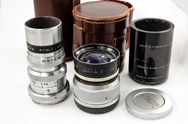 Italian Rectaflex 35mm film camera lenses, extension tubes, cases