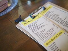 Food Menu, Oriole Coffee Roasters, Jiak Chuan Road