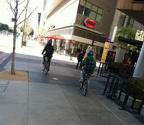 Bicyclists at LA Live