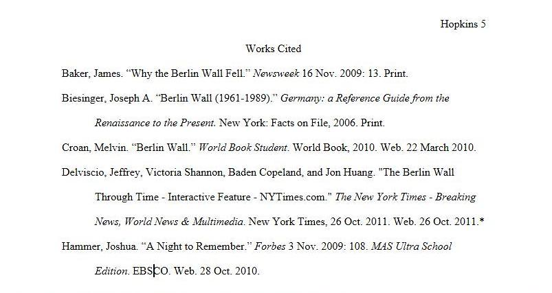 Works Cited Page Talbott Honors World War I Research Paper SSD