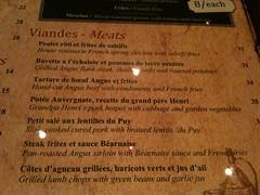 Meats menu, Brasserie Gavroche, 66 Tras Street, Singapore