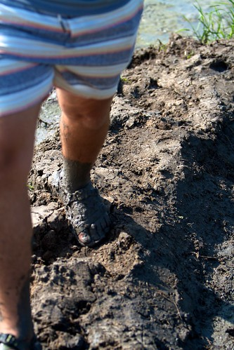 Walking through the muddy paddy fields