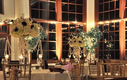 Wedding reception at night at Raspberry Plain