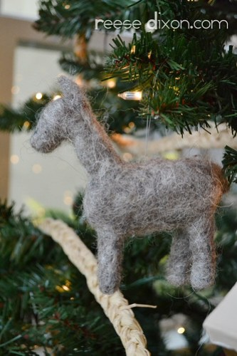 Needlefelted Donkey Ornament