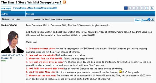 Sims 3 Store Wishlist Sweepstakes!