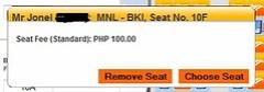 Cebu Pacific Regular Seat Php100