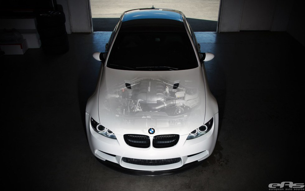 Alpine White BMW E92 M3 - ESS Supercharger Transparent Hood