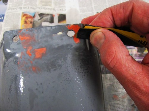 Use Folded Sand Paper Edge to Feather High Edge of the Glaze