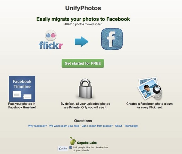 UnifyPhotos start page