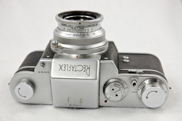 Italian Rectaflex 35mm film camera and lens, top view