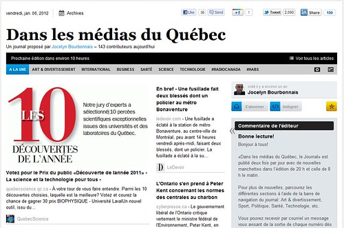 """""""Le Webzine Dans les médias du Québec"""""""