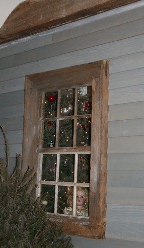 Brandywine Christmas Doll peeking out window