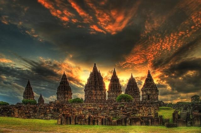 Sunset at Prambanan Temple