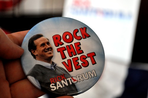 """""""Rock the Vest Button"""" - Supporting Republican Presidential Candidate Rick Santorum"""