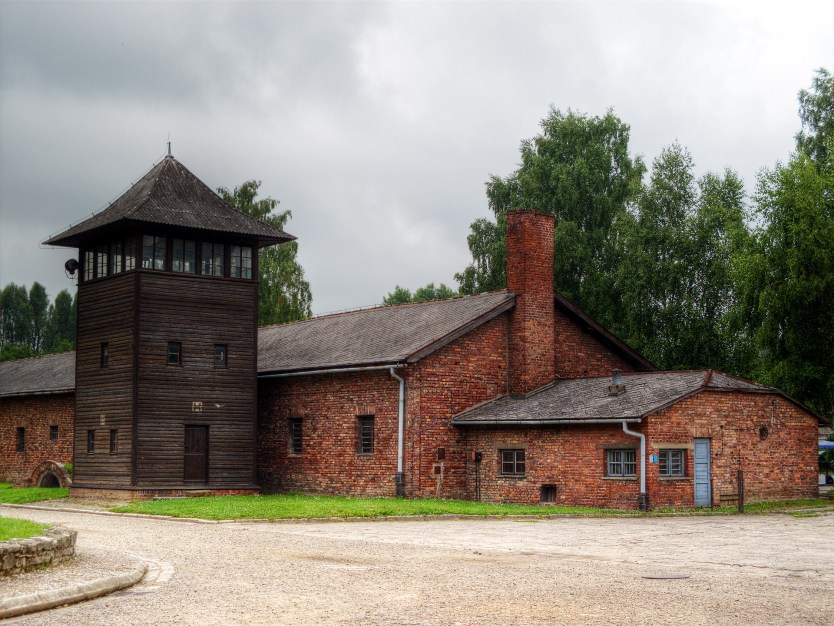 Guard tower and barracks building, Auschwitz I.
