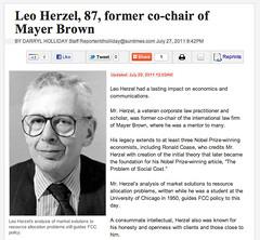 Leo Herzel, 87, former co-chair of Mayer Brown