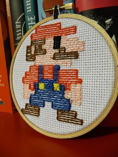 Retro 8 bit Mario embroidery