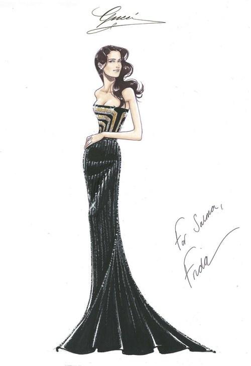 Salma Hayek Pinault_Sketch for press