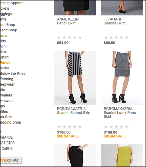 On the catalog page, the Scarlett Lurex Pencil Skirt (middle right) was marked $95.04