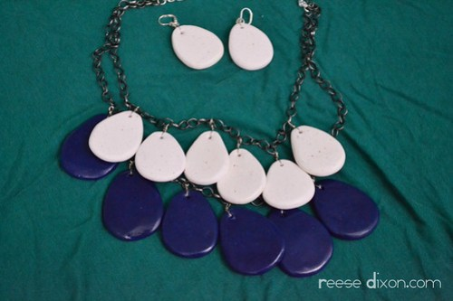 Polymer clay teardrops necklace