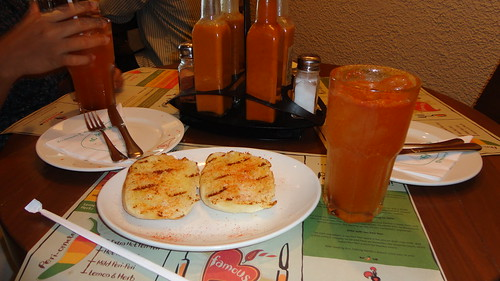 Portuguese lemonade and garlic bread