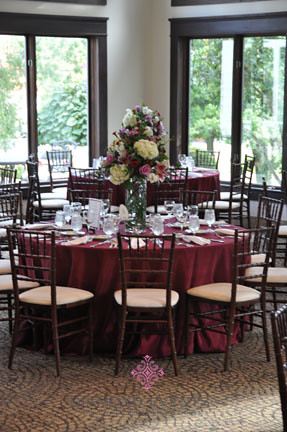 Table setting with tall floral arrangment at Historic Whitehall Manor