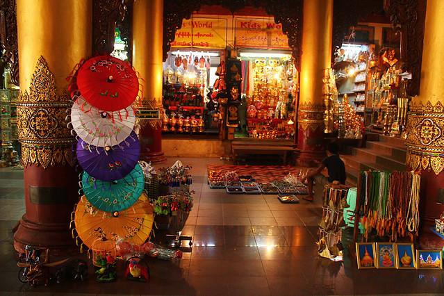 Many shops lining the four Gates of Swedagon Pagoda