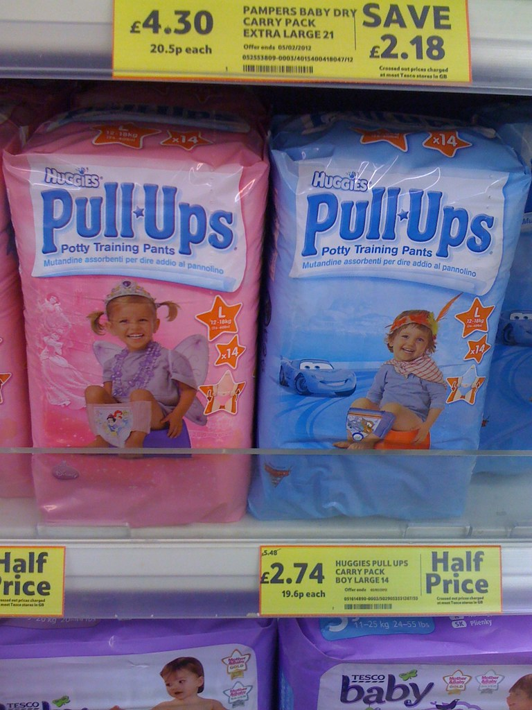 Photo of Huggies training pants on sale in Tesco, available in pink or blue
